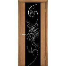 Межкомнатная дверь Мебель-Массив Альба 1 Светлый дуб без патины полотно с остеклением витраж стразы