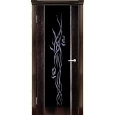 Межкомнатная дверь Мебель-Массив Альба 1 Темный дуб без патины полотно с остеклением витраж стразы