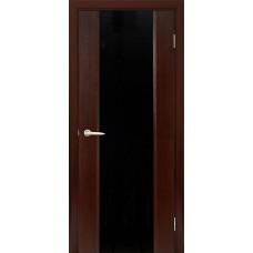 Межкомнатная дверь Мебель-Массив Альба 1 Венге без патины полотно с остеклением витраж черный