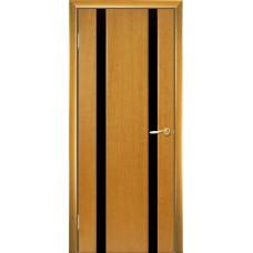 Межкомнатная дверь Мебель-Массив Альба 2 Африканский орех без патины полотно с остеклением витраж черный