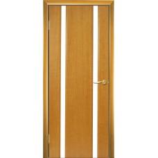 Межкомнатная дверь Мебель-Массив Альба 2 Африканский орех без патины полотно с остеклением витраж зеркало