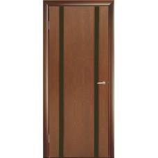 Межкомнатная дверь Мебель-Массив Альба 2 Красное дерево без патины полотно с остеклением витраж черный