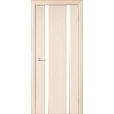 Межкомнатная дверь Мебель-Массив Альба 2 Белый дуб без патины полотно с остеклением витраж зеркало