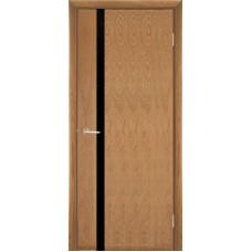 Межкомнатная дверь Мебель-Массив Альба 4 Светлый дуб без патины полотно с остеклением витраж черный