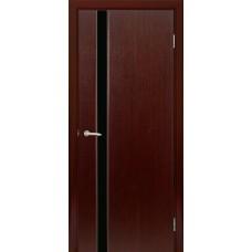 Межкомнатная дверь Мебель-Массив Альба 4 Венге без патины полотно с остеклением витраж черный