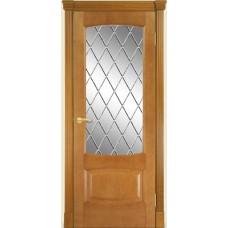 Межкомнатная дверь Мебель-Массив Антик Африканский орех без патины полотно с остеклением витраж