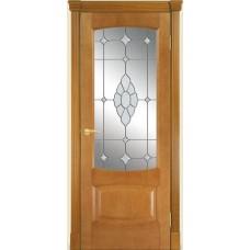 Межкомнатная дверь Мебель-Массив Антик Африканский орех без патины полотно с остеклением витраж с гравировкой