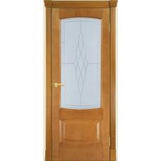Межкомнатная дверь Мебель-Массив Антик Африканский орех без патины полотно с остеклением витраж пескоструй