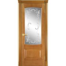 Межкомнатная дверь Мебель-Массив Антик Африканский орех без патины полотно с остеклением витраж заливной