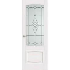 Межкомнатная дверь Мебель-Массив Антик Эмаль белая без патины полотно с остеклением