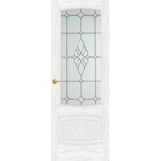 Межкомнатная дверь Мебель-Массив Антик Эмаль белая патина полотно с остеклением