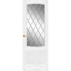 Межкомнатная дверь Мебель-Массив Антик Эмаль белая патина полотно с остеклением витраж