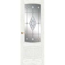Межкомнатная дверь Мебель-Массив Антик Эмаль белая патина полотно с остеклением витраж с гравировкой