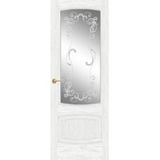 Межкомнатная дверь Мебель-Массив Антик Эмаль белая патина полотно с остеклением витраж заливной
