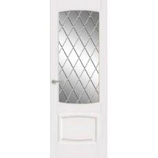 Межкомнатная дверь Мебель-Массив Антик Эмаль белая без патины полотно с остеклением витраж