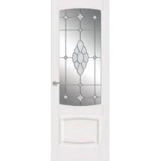 Межкомнатная дверь Мебель-Массив Антик Эмаль белая без патины полотно с остеклением витраж с гравировкой