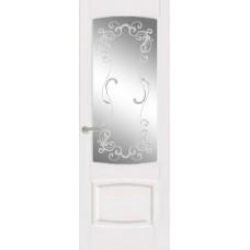 Межкомнатная дверь Мебель-Массив Антик Эмаль белая без патины полотно с остеклением витраж заливной