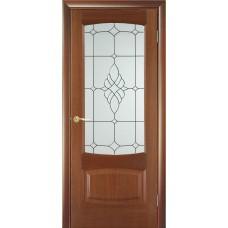 Межкомнатная дверь Мебель-Массив Антик Красное дерево без патины полотно с остеклением