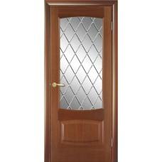 Межкомнатная дверь Мебель-Массив Антик Красное дерево без патины полотно с остеклением витраж
