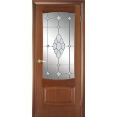 Межкомнатная дверь Мебель-Массив Антик Красное дерево без патины полотно с остеклением витраж с гравировкой