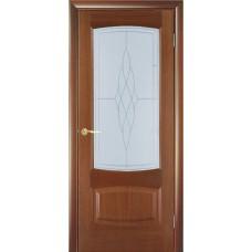 Межкомнатная дверь Мебель-Массив Антик Красное дерево без патины полотно с остеклением витраж пескоструй