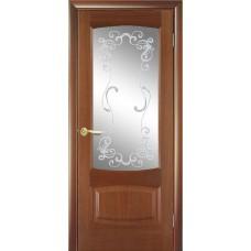 Межкомнатная дверь Мебель-Массив Антик Красное дерево без патины полотно с остеклением витраж заливной