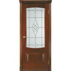 Межкомнатная дверь Мебель-Массив Антик Миланский орех без патины полотно с остеклением