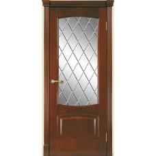 Межкомнатная дверь Мебель-Массив Антик Миланский орех без патины полотно с остеклением витраж