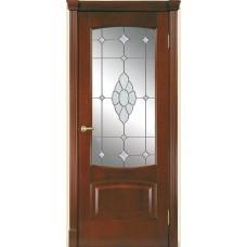 Межкомнатная дверь Мебель-Массив Антик Миланский орех без патины полотно с остеклением витраж с гравировкой