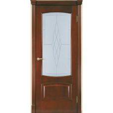 Межкомнатная дверь Мебель-Массив Антик Миланский орех без патины полотно с остеклением витраж пескоструй