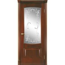 Межкомнатная дверь Мебель-Массив Антик Миланский орех без патины полотно с остеклением витраж заливной