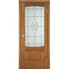 Межкомнатная дверь Мебель-Массив Антик Светлый дуб без патины полотно с остеклением