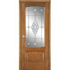 Межкомнатная дверь Мебель-Массив Антик Светлый дуб без патины полотно с остеклением витраж с гравировкой
