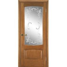 Межкомнатная дверь Мебель-Массив Антик Светлый дуб без патины полотно с остеклением витраж заливной
