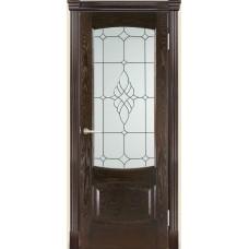Межкомнатная дверь Мебель-Массив Антик Темный дуб без патины полотно с остеклением