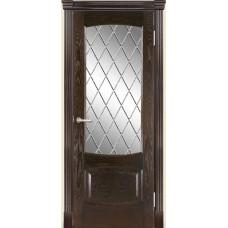 Межкомнатная дверь Мебель-Массив Антик Темный дуб без патины полотно с остеклением витраж