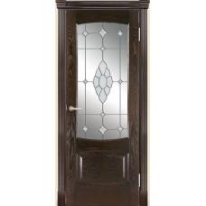 Межкомнатная дверь Мебель-Массив Антик Темный дуб без патины полотно с остеклением витраж с гравировкой