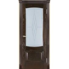 Межкомнатная дверь Мебель-Массив Антик Темный дуб без патины полотно с остеклением витраж пескоструй
