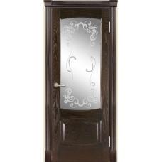 Межкомнатная дверь Мебель-Массив Антик Темный дуб без патины полотно с остеклением витраж заливной