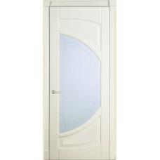 Межкомнатная дверь Мебель-Массив Арте Эмаль слоновая кость патина полотно с остеклением витраж пескоструй