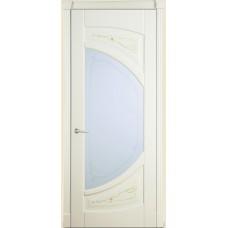 Межкомнатная дверь Мебель-Массив Арте Эмаль слоновая кость без патины роспись 1 сторона полотно с остеклением витраж пескоструй