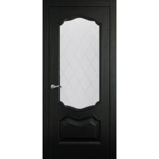 Межкомнатная дверь Мебель-Массив Барселона Эмаль RAL 9005 без патины полотно с остеклением витраж