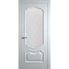 Межкомнатная дверь Мебель-Массив Барселона Эмаль белая патина полотно с остеклением витраж