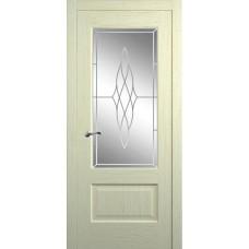 Межкомнатная дверь Мебель-Массив Болонья 1 Эмаль белая патина полотно с остеклением витраж пескоструй