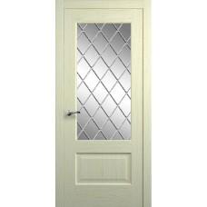 Межкомнатная дверь Мебель-Массив Болонья 1 Эмаль белая на дубе без патины полотно с остеклением витраж с гравировкой