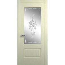 Межкомнатная дверь Мебель-Массив Болонья 1 Эмаль белая патина полотно с остеклением витраж заливной