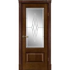 Межкомнатная дверь Мебель-Массив Болонья 1 Коньячный дуб без патины полотно с остеклением витраж пескоструй