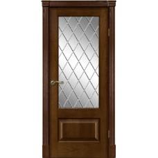 Межкомнатная дверь Мебель-Массив Болонья 1 Коньячный дуб без патины полотно с остеклением витраж с гравировкой