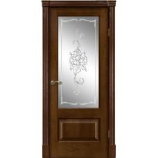 Межкомнатная дверь Мебель-Массив Болонья 1 Коньячный дуб без патины полотно с остеклением витраж заливной