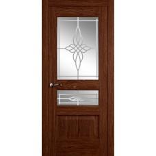 Межкомнатная дверь Мебель-Массив Болонья 2 Коньячный дуб без патины полотно с остеклением витраж пескоструй